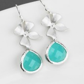 aqua blue bridesmaid earrings