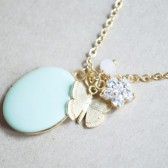 Butterfly Locket Charm Necklace with Flower Rhinestone
