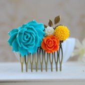Turquoise Blue Rose Orange Ivory Yellow Flowers Hair Comb