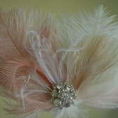 Exquisite Light Salmon and Cream Feather Hair Clip / Fascinator