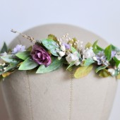 Hair Crown Purple Garden, Goddess Headdress, Garden Wedding, Bohemian Hair Crown
