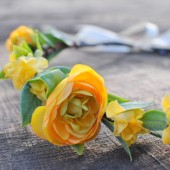 Golden Yellow Ranunculus Floral Crown, Wedding Crown