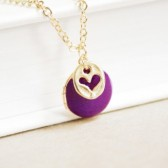 Cutout Heart Pendant Charm Necklace with Enamel Locket