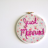 Just Married Wedding Embroidery Hoop, Wedding Gift, Fabric Home Decor