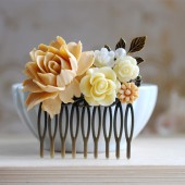 Wedding Bridal Hair Comb. Light Latte Rose Ivory Flowers Pearl Cabochon Brass Leaf Collage Hair Comb. Wedding Hairpiece, Bridal Headpiece