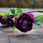 Dark Plum Purple Ranunculus Floral Hair Crown