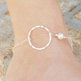 sterling silver and pearl infinity bracelet