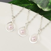 Pink Pearl Bridesmaid Earrings