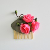 Valentines Day Rose Hair Comb