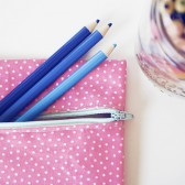 Pink and Cream Polka Dots Pencil Pouch