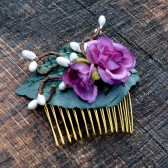 Purple Rose Hair Comb, Floral Bridal Fascinator