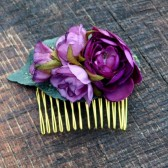 Purple Rose and Ranunculus Hair Comb