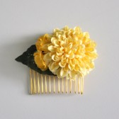 Yellow Mum Flower Hair Comb