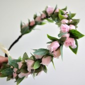 Pink Rose Flower Hair Crown, Wedding Hair Crown, Baby Shower Hair Crown
