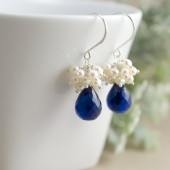 Navy Blue Bridal Earrings