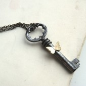 Antique Skeleton Key Necklace With Tiny Butterfly