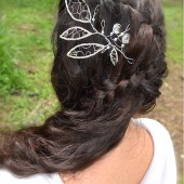 silver fern hairpiece, fascinator, pin in bridal hairpiece, beaded, wire hair vine