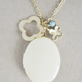 Gold Clover Lucky Charm Necklace & Honey Yellow Enamel Locket