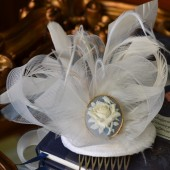 One of a Kind White and Light Blue Feather Fascinator