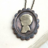 Personalized Silhouette Necklace Metal Cameo