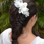 french beaded haircomb, beaded petals, swarovski beads, silver and white hairpiece