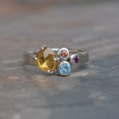Rose Cut Yellow Sapphire Cluster Ring, White Gold, Swiss BlueTopaz, Padparadscha Sapphire, Amethyst, Alternative Engagement Ring
