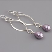 mauve lavender pearl bridesmaid earrings