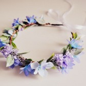 Spring Wedding Morning Glow Hair Crown, Pastel Blue and Purple Flower Headband, Woodland Fairy Flower Crown