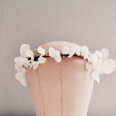 Simple White Wedding Hair Crown, Bridal Headband, Woodland Wedding Flower Crown