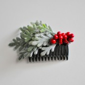 Winter Wedding Frosted Berry Hair Comb