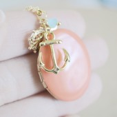 Gold Anchor Sailor Charms Necklace with Coral Enamel Locket