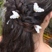 butterfly scatter pins, hairpins, small hairpins, lace hairpiece, butterfly hairpiece, flower girl