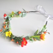 Wildflower Summer Wedding Hair Flower Crown, Red Orange Yellow Headband, Woodland Wedding Flower Crown
