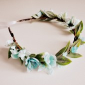 Spring Wedding Aqua Blue Hair Crown, Baby Shower Crown, Pastel Flower Headband, Woodland Headwrap