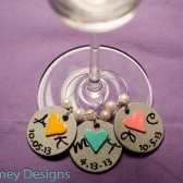 Personalized Wine Charm with Initials and Wedding Date