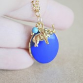 Golden Elephant Charm Figurine with Oval Enamel Locket