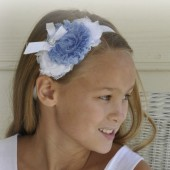 White and Blue Flower Girl Headband