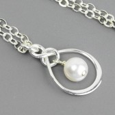 white pearl infinity necklace