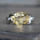 Citrine Oval Alternative Engagement Ring Sterling Silver and 14K White Gold