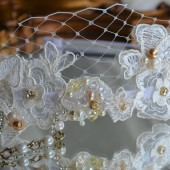 Beautiful Hand Beaded Ivory and Gold Wedding Headband