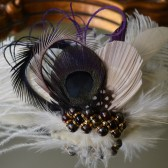 One of a Kind Ivory, Black and Plum Feather Fascinator