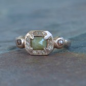 Radiant Cut Green Diamond Engagement Ring, Rose Cut, Cognac Diamond Halo, Rose Gold, Handmade, Recycled Gold, One of a Kind