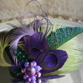 Beautiful Purple and Chartreuse Feather Hair Clip - Fascinator