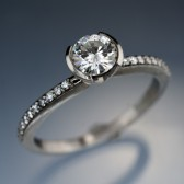 HALF BEZEL DIAMOND MICRO PAVE ENGAGEMENT RING