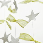Felt star garland with cotton fabric scraps, pale yellow and white garland, shabby chic decor