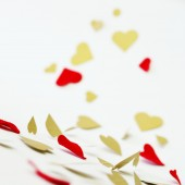 Red heart garland. Gold garland. Shimmery garland.
