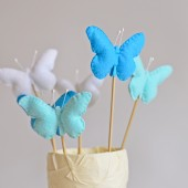 Wedding cake topper , Blue wedding , Butterfly cake topper