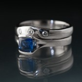 Cushion Cut Blue Sapphire Fold Engagment Ring Bridal Set