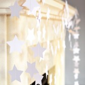 White stars garland, Wedding decoration, White wedding