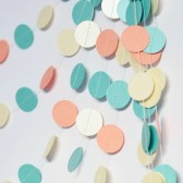 Mint Peachy coral Ivory Shimmer Wedding Garland